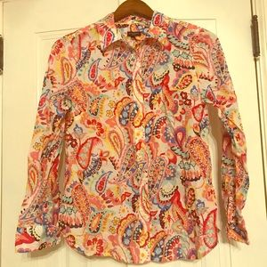 TALBOTS button down paisley top
